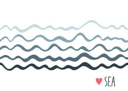 lineas horizontales: Fondo horizontal inconsútil marina con olas. Diseño simple. Vectores