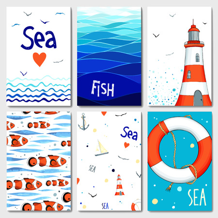 yacht: Set of 6 lovely cards templates with marine design. A lot of nautical elements.