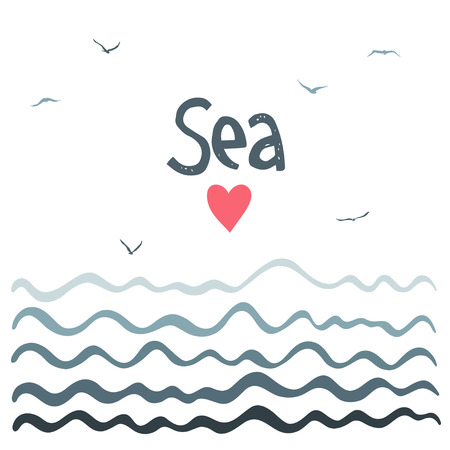 curved: Marine horizontal background with waves. Simple Design. Illustration