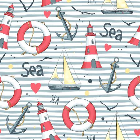 ヨット、カモメ、救命浮き輪、アンカー、灯台の白背景にした航海パターン。  イラスト・ベクター素材