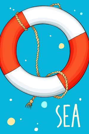 Lifebuoy in the sea background with bubbles. Card with space for your text.