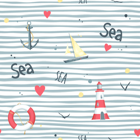 seagulls: Nautical pattern with sailboat, seagulls, life buoy, anchor and lighthouse made in the White background. Stock Photo