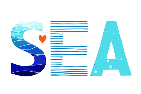 textile background: Sea Lettering. Vercor illustration of the word Sea. Letters with sea backgrounds.