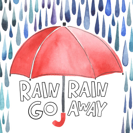Watercolor red umbrella under rain. Stylized blue grey raindrops. Lettering with words Rain-rain go away.Each drops is separately.