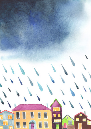 cloudburst: Watercolor illustration of a cozy town before the rain. Colorful houses under stormy thundery sky. There is a place for text. There are the first rain drops. Original watercolor illustration. Stock Photo