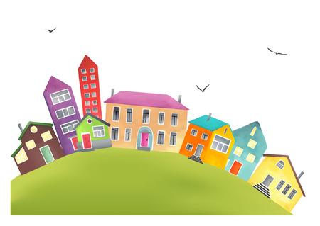 Kleine gezellige stad met cartoon huizen, zoals uit de pagina's van een kinderboeken. Dorp op de heuvel op wit wordt geïsoleerd.
