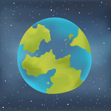 earth from space: Earth planet ib space. Starry sky background.