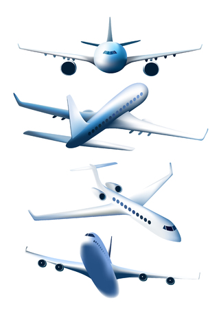 airplane take off: Set of airplanes in different foreshortening isolated on white background. Passenger aircraft.
