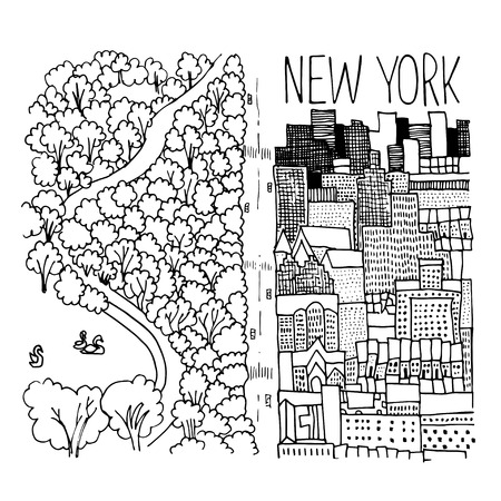 ny: Hand drawn illustration of Central Park in New York. Simple sketch style. Black contour isolated on white background. Illustration