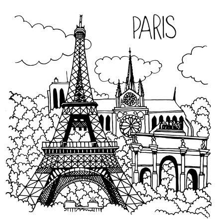 notre dame de paris: Hand drawn illustration of Paris landmarks. Eiffel Tower, Notre Dame Cathedral, Arc de Triomphe du Carrousel. Simple sketch style. Black contour isolated on white background.