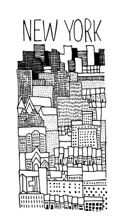 ny: Hand drawn illustration of New York panoramic. Simple sketch style. Black contour isolated on white background. Illustration