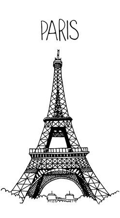 Hand getrokken Eiffeltoren. Eenvoudige schets stijl. Zwarte contour op een witte achtergrond. Stockfoto