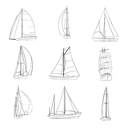 Set of 9 boats with sails made in the isolated on white background