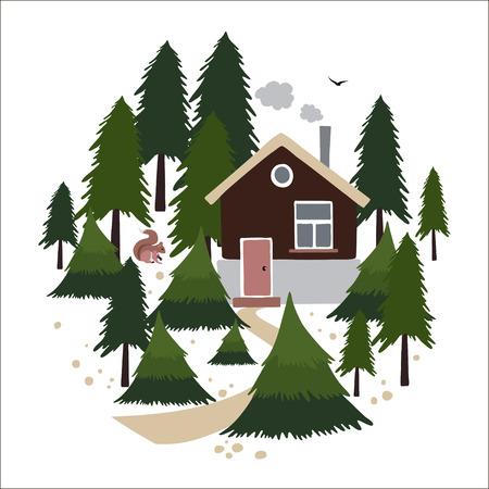 coniferous forest: casa de madera con una chimenea en el bosque de coníferas. Pequeña casa del forestal o un cazador.