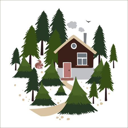 pine forest: Wooden house with a chimney in the coniferous forest. Small house of the forester or hunter. Illustration