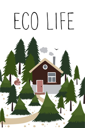 downshifting: Wooden house with a chimney in the coniferous forest. Small house of the forester or hunter. Illustration