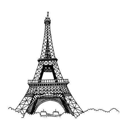 Torre Eiffel de mão desenhada. Estilo de desenho simples. Contorno preto isolado no fundo branco.