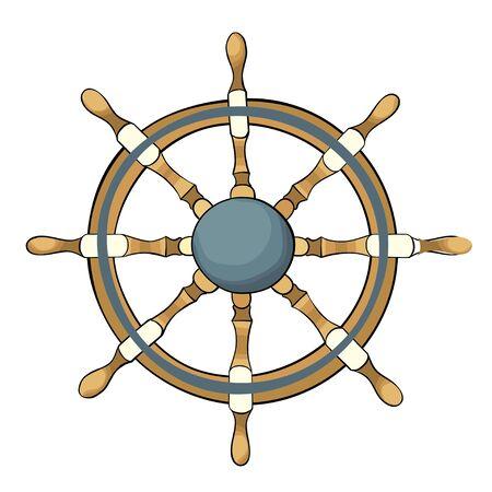 ship steering wheel: illustration of ship steering wheel isolated on white.
