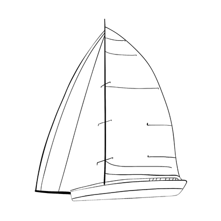 Contour of sailboat made in the and isolated on white background. Sport yacht, sailboat.