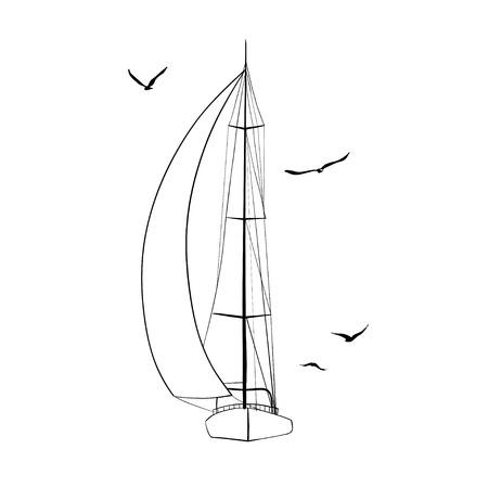 Contorno del barco de vela en el hecho y aisladas sobre fondo blanco. Yate de deporte, barco de vela. Dibujo de esquema Ilustración de vector