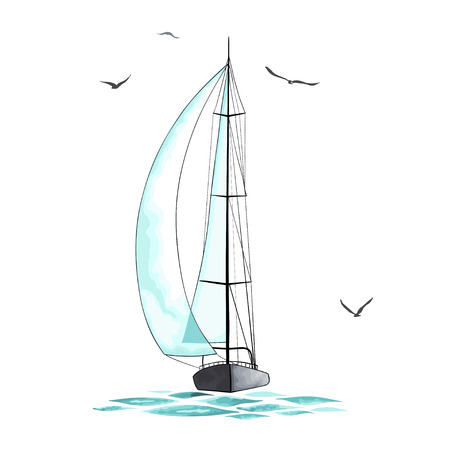 the hovercraft: Sailboat in the sea and seagulls around