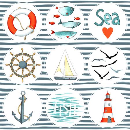 Sea set of 9 nautical elements isolated on white