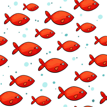 red fish: sea pattern with small red fish on white background.