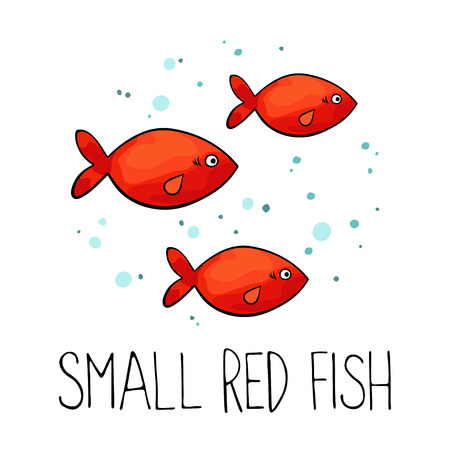 illustration of small red fish isolated on white background. Illustration