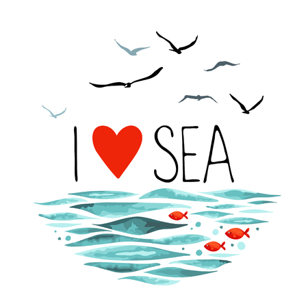 The phrase I Love Sea with seagulls, waves and 3 little red fish. illustration in a circle shape on a white background.