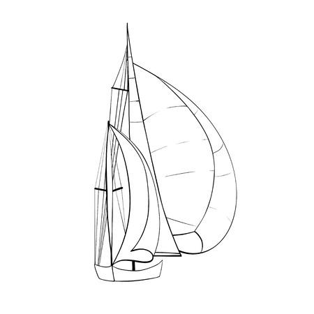 Contorno del barco de vela Ilustración de vector