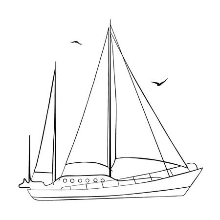 contour: Contour of sailboat Illustration