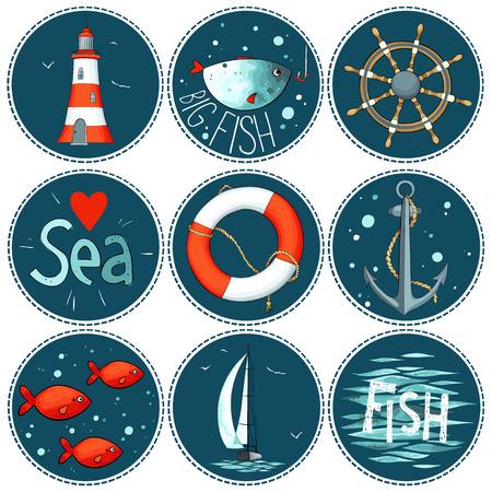 worm gear: sea set of 9 nautical elements