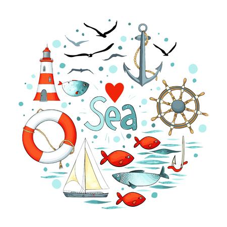 円形の海事の要素のコレクション