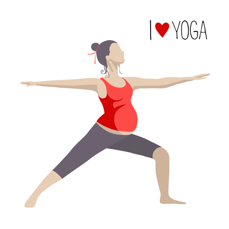 Pregnant woman doing exercise. Yoga positions in Warrior or Virabhadrasana Pose.  イラスト・ベクター素材