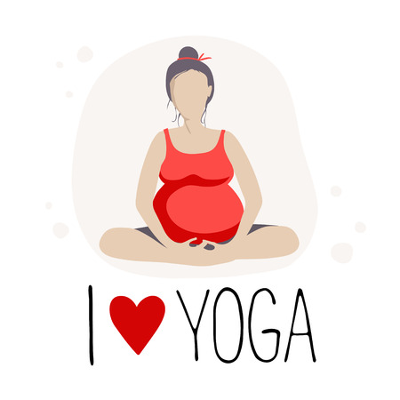 Pregnant woman doing exercise. Yoga positions in butterfly or lotus Pose.