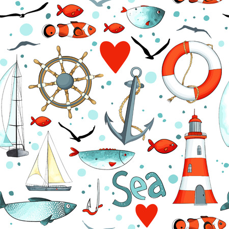 sea pattern with nautical elements on white background. There are lighthouse, seagulls, sail boat, life buoy, fish, wheel and anchor. Imitation of watercolor. Иллюстрация