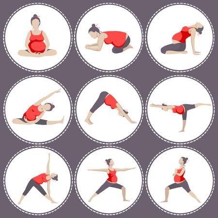 Conjunto de 9 Las posturas de yoga para mujeres embarazadas. ejercicios prenatales.