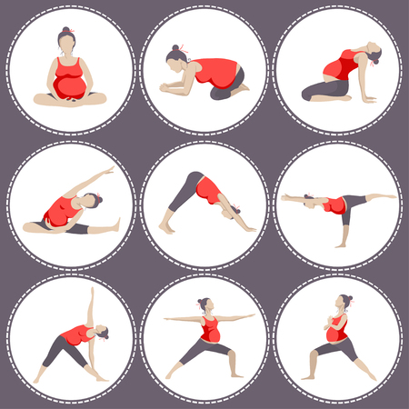 for women: Set of 9 Yoga poses for Pregnant women. Prenatal exercise.