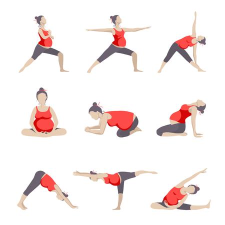 Ensemble de 9 Yoga pose pour les femmes enceintes. exercice prénatal.