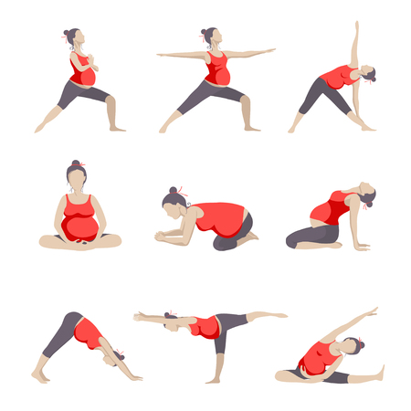 Set of 9 Yoga poses for Pregnant women. Prenatal exercise.