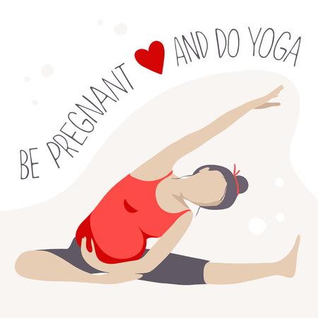 prenatal: Prenatal Yoga. Pregnant woman doing exercise. Vector illustration