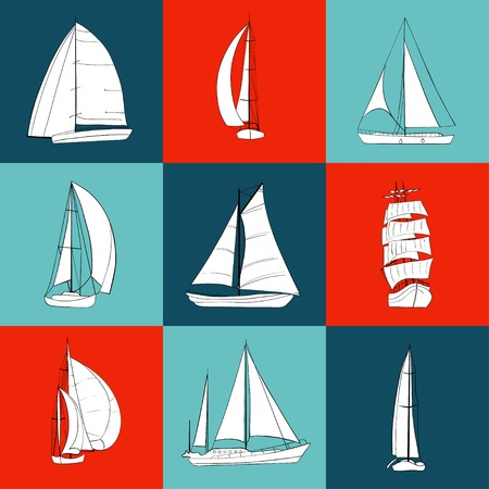 Set of 9 boats with sails. Sport yacht, sailboat. Contour drawing