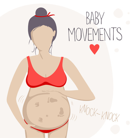 sensations: Pregnant woman in the second trimester. She feels the baby moving inside.