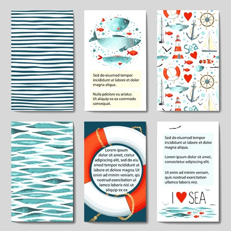 Set of 6 lovely cards templates with sea background. Иллюстрация