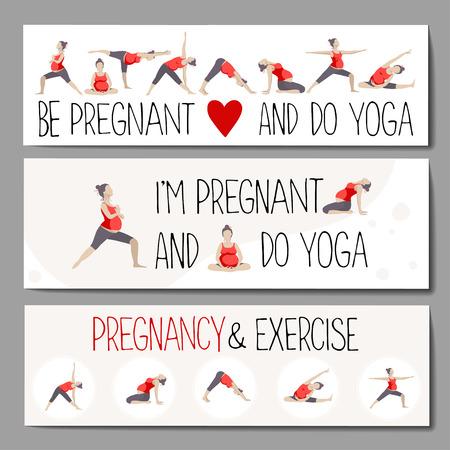 Ensemble de bannières ou des titres pour la publicité yoga enceinte. Les femmes faisant de l'exercice. Des variantes de poses. Banque d'images - 60232235