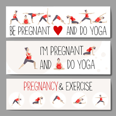 set of banners or headlines for advertising pregnant yoga. Women doing exercise. Variants of poses.