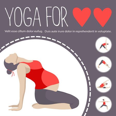 for women: Yoga for two. Pregnant women doing exercise. Variants of poses.