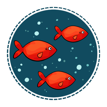 illustration of small red fish in a circle shape on a dark background.