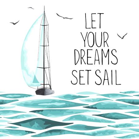 Żaglówka w morzu i mewy wokół. Obiekty samodzielnie na białym tle. Akwarela imitacja. Jacht sportowy, żaglówka.
