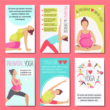 for women: Set of banners for advertising pregnant yoga. Women doing exercise. Variants of poses.